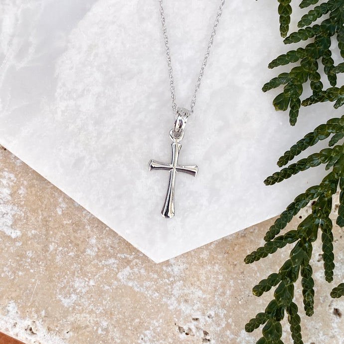 14KT White Gold Beveled Cross Pendant Necklace, 14KT White Gold Beveled Cross Pendant Necklace - Legacy Saint Jewelry