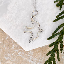 Load image into Gallery viewer, 14KT White Gold Cut-Out Dove Pendant Necklace, 14KT White Gold Cut-Out Dove Pendant Necklace - Legacy Saint Jewelry