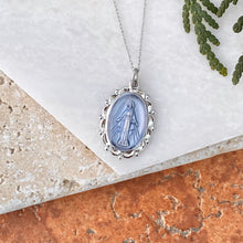 Load image into Gallery viewer, Sterling Silver Blue Miraculous Medal Pendant 26mm, Sterling Silver Blue Miraculous Medal Pendant 26mm - Legacy Saint Jewelry