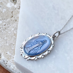 Sterling Silver Blue Miraculous Medal Pendant 26mm, Sterling Silver Blue Miraculous Medal Pendant 26mm - Legacy Saint Jewelry