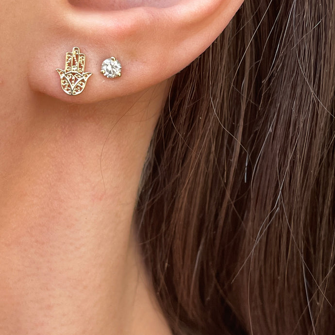14KT Yellow Gold Filigree Hamsa Mini Stud Post Earrings