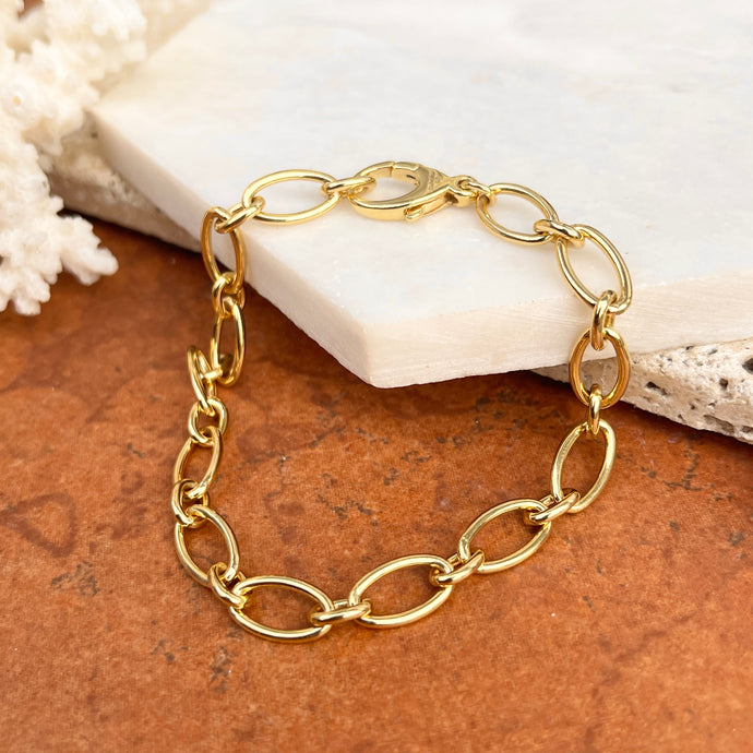14KT Yellow Gold Polished Open Oval Link Chain Bracelet