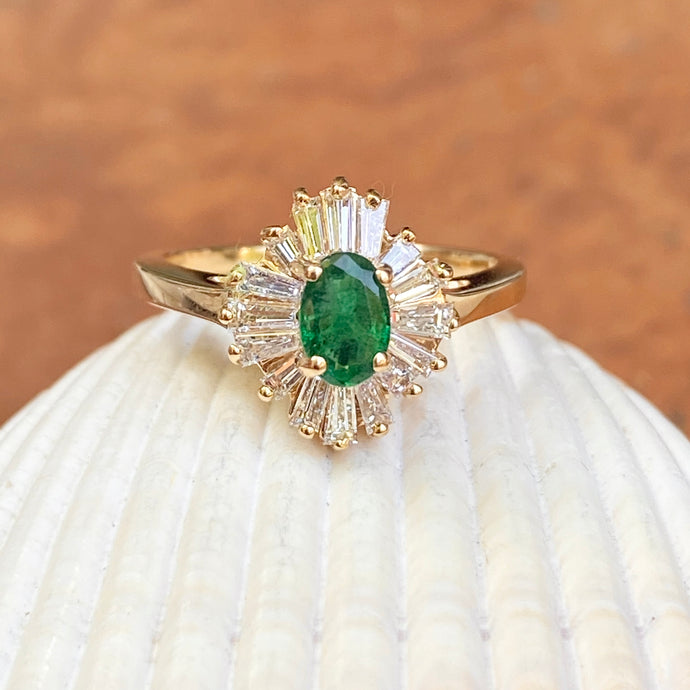 Estate 14KT Yellow Gold Oval .50 CT Emerald + Baguette Diamond Ballerina Ring, Estate 14KT Yellow Gold Oval .50 CT Emerald + Baguette Diamond Ballerina Ring - Legacy Saint Jewelry