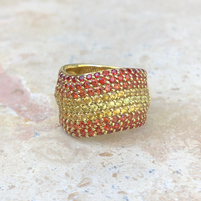 Estate 18KT Yellow Gold Pave Fancy Orange + Yellow Sapphires Wave Design Ring - Legacy Saint Jewelry