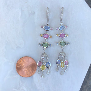 18KT White Gold Pave Diamond Pastel Colored Sapphires Chandelier Estate Earrings, 18KT White Gold Pave Diamond Pastel Colored Sapphires Chandelier Estate Earrings - Legacy Saint Jewelry