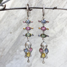 Load image into Gallery viewer, 18KT White Gold Pave Diamond Pastel Colored Sapphires Chandelier Estate Earrings, 18KT White Gold Pave Diamond Pastel Colored Sapphires Chandelier Estate Earrings - Legacy Saint Jewelry