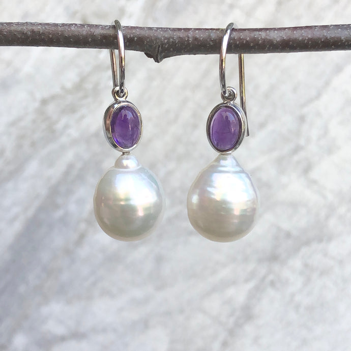 14KT White Gold Amethyst + Genuine Paspaley South Sea Pearl Earrings, 14KT White Gold Amethyst + Genuine Paspaley South Sea Pearl Earrings - Legacy Saint Jewelry