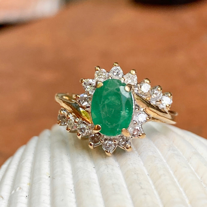 Estate 14KT Yellow Gold Oval 1.00 CT Emerald + Round Diamond Bypass Halo Ring