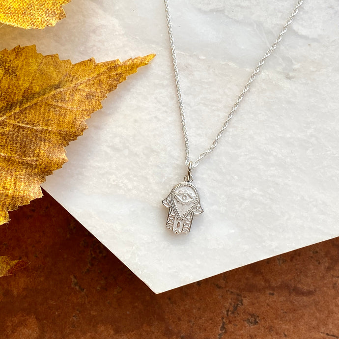 Sterling Silver Hamsa/ Chamseh Pendant Necklace, Sterling Silver Hamsa/ Chamseh Pendant Necklace - Legacy Saint Jewelry