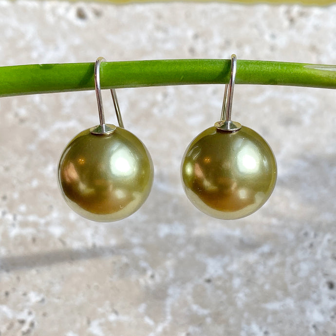 Sterling Silver Euro Wire Olive Green Shell Pearl Ball Earrings 16mm, Sterling Silver Euro Wire Olive Green Shell Pearl Ball Earrings 16mm - Legacy Saint Jewelry