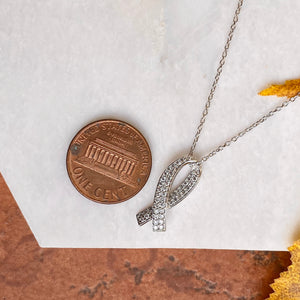 14KT White Gold Pave Diamond Breast Cancer Awareness Ribbon Pendant, 14KT White Gold Pave Diamond Breast Cancer Awareness Ribbon Pendant - Legacy Saint Jewelry