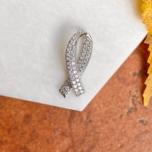 Load image into Gallery viewer, 14KT White Gold Pave Diamond Breast Cancer Awareness Ribbon Pendant, 14KT White Gold Pave Diamond Breast Cancer Awareness Ribbon Pendant - Legacy Saint Jewelry