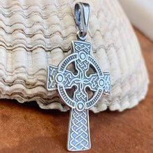 Load image into Gallery viewer, Sterling Silver Antiqued Celtic Eternity Circle Cross Pendant 36mm, Sterling Silver Antiqued Celtic Eternity Circle Cross Pendant 36mm - Legacy Saint Jewelry