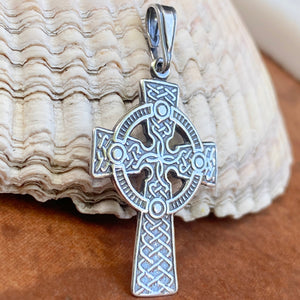 Sterling Silver Antiqued Celtic Eternity Circle Cross Pendant 36mm, Sterling Silver Antiqued Celtic Eternity Circle Cross Pendant 36mm - Legacy Saint Jewelry