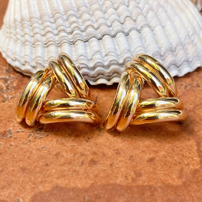 Estate 14KT Yellow Gold Tubular Triangle Style Earrings, Estate 14KT Yellow Gold Tubular Triangle Style Earrings - Legacy Saint Jewelry