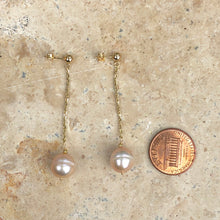 Load image into Gallery viewer, 14KT Yellow Gold + Pink Freshwater Pearl Dangle Drop Earrings, 14KT Yellow Gold + Pink Freshwater Pearl Dangle Drop Earrings - Legacy Saint Jewelry