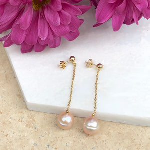 14KT Yellow Gold + Pink Freshwater Pearl Dangle Drop Earrings, 14KT Yellow Gold + Pink Freshwater Pearl Dangle Drop Earrings - Legacy Saint Jewelry