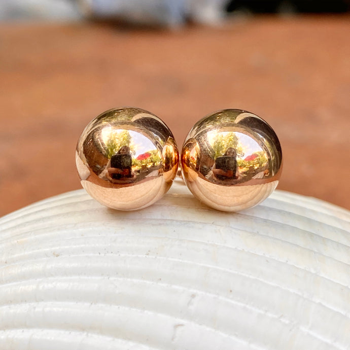 14KT Rose Gold Polished 9mm Ball Stud Earrings, 14KT Rose Gold Polished 9mm Ball Stud Earrings - Legacy Saint Jewelry