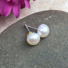 Load image into Gallery viewer, Sterling Silver + White Freshwater Pearl Stud Post Earrings, Sterling Silver + White Freshwater Pearl Stud Post Earrings - Legacy Saint Jewelry