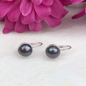 14KT White Gold + Gray Freshwater Pearl Lever Back Drop Earrings, 14KT White Gold + Gray Freshwater Pearl Lever Back Drop Earrings - Legacy Saint Jewelry