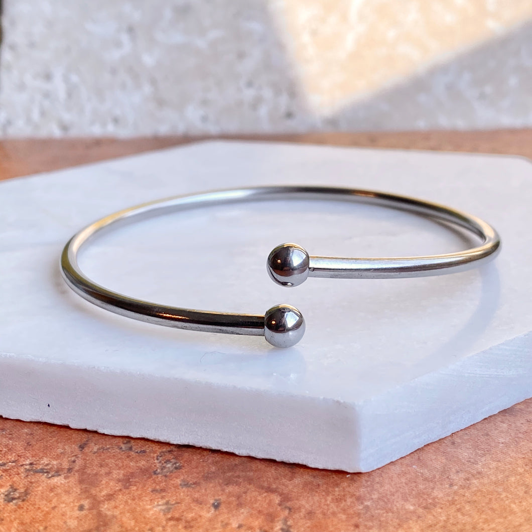 Stainless Steel Bypass Cuff Bracelet With Threaded End Caps, Stainless Steel Bypass Cuff Bracelet With Threaded End Caps - Legacy Saint Jewelry