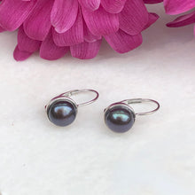 Load image into Gallery viewer, 14KT White Gold + Gray Freshwater Pearl Lever Back Drop Earrings, 14KT White Gold + Gray Freshwater Pearl Lever Back Drop Earrings - Legacy Saint Jewelry