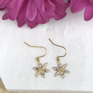 10KT Yellow Gold + White Gold Euro Wire Flower Dangle Earrings, 10KT Yellow Gold + White Gold Euro Wire Flower Dangle Earrings - Legacy Saint Jewelry