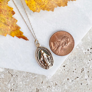 10KT Yellow Gold Miraculous Medal Pendant Chain Necklace, 10KT Yellow Gold Miraculous Medal Pendant Chain Necklace - Legacy Saint Jewelry