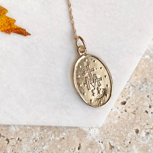10KT Yellow Gold Miraculous Medal Pendant 25mm, 10KT Yellow Gold Miraculous Medal Pendant 25mm - Legacy Saint Jewelry