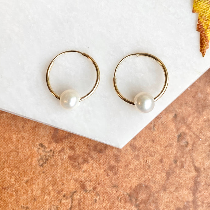 14KT Yellow Gold Freshwater Pearl Small Endless Hoop Earrings, 14KT Yellow Gold Freshwater Pearl Small Endless Hoop Earrings - Legacy Saint Jewelry
