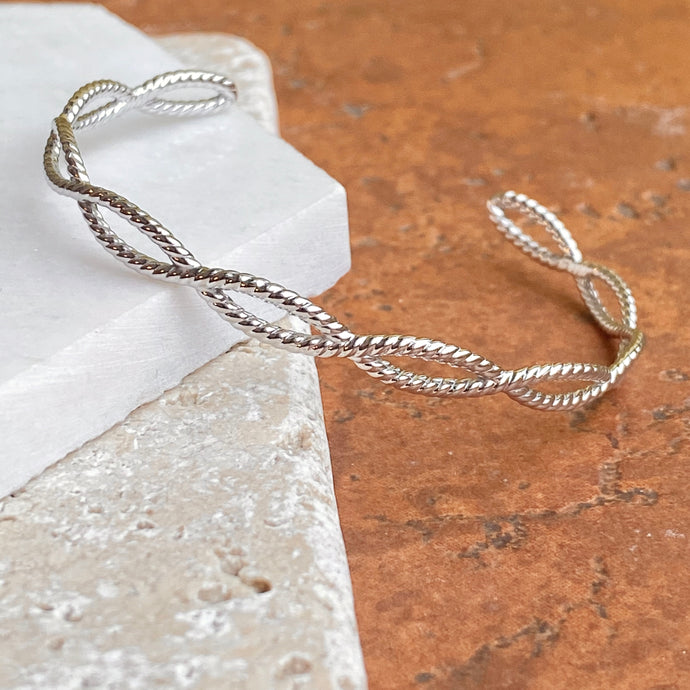14KT White Gold Rope Twist Cuff Bangle Bracelet, 14KT White Gold Rope Twist Cuff Bangle Bracelet - Legacy Saint Jewelry