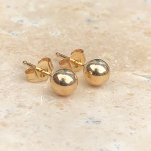 14KT Yellow Gold Polished Ball Stud Earrings 4mm, 14KT Yellow Gold Polished Ball Stud Earrings 4mm - Legacy Saint Jewelry