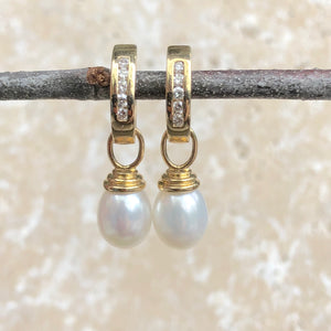 14KT Yellow Gold Channel Set Diamond + Pearl Hoop Earrings, 14KT Yellow Gold Channel Set Diamond + Pearl Hoop Earrings - Legacy Saint Jewelry