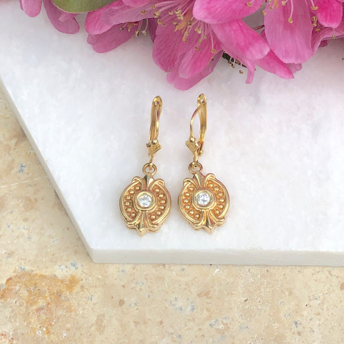 14KT Yellow Gold + Bezel Set Diamond Estate Earrings, 14KT Yellow Gold + Bezel Set Diamond Estate Earrings - Legacy Saint Jewelry