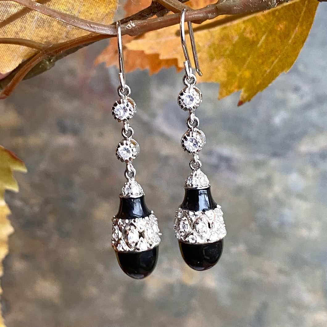 Sterling Silver CZ + Teardrop Onyx Dangle Earrings, Sterling Silver CZ + Teardrop Onyx Dangle Earrings - Legacy Saint Jewelry