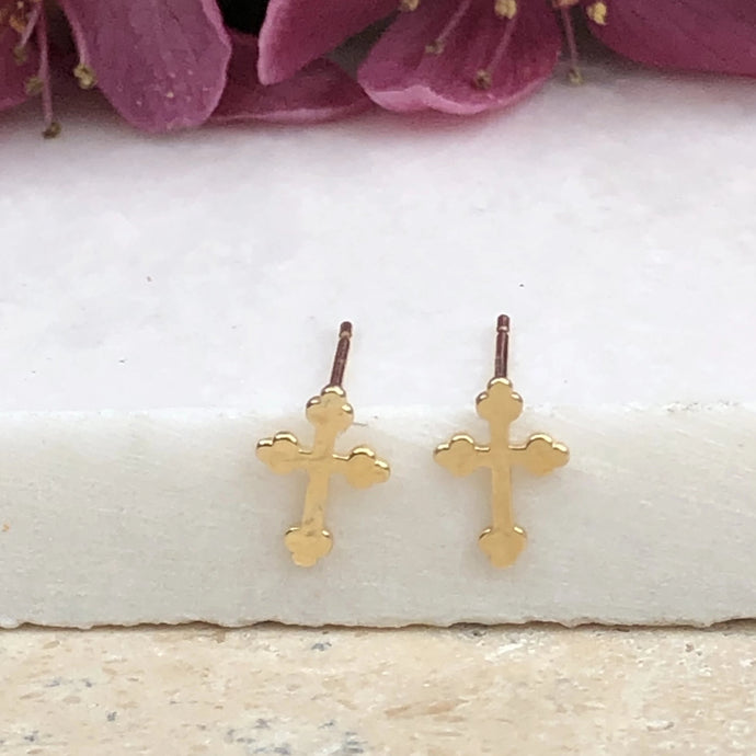 14KT Yellow Gold Polished Cross Stud Earrings, 14KT Yellow Gold Polished Cross Stud Earrings - Legacy Saint Jewelry