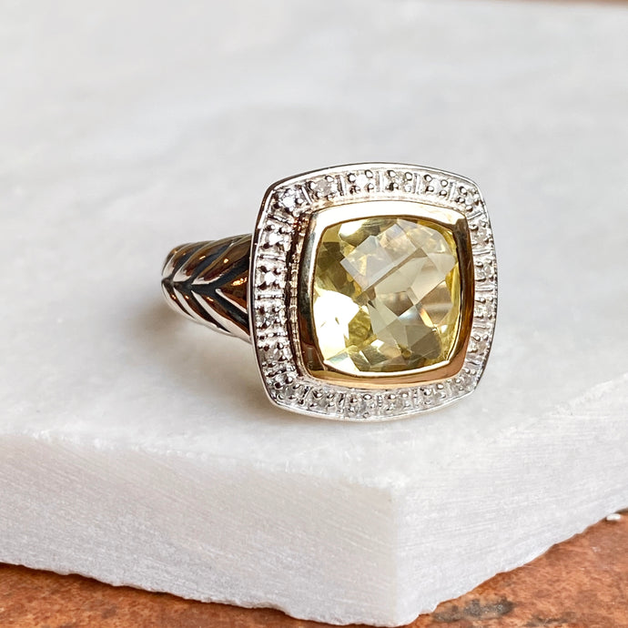 14KT Yellow Gold + Sterling Silver Lemon Quartz + Diamond Ring, 14KT Yellow Gold + Sterling Silver Lemon Quartz + Diamond Ring - Legacy Saint Jewelry