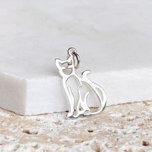 Load image into Gallery viewer, Sterling Silver Sitting Cat Outline Pendant Charm, Sterling Silver Sitting Cat Outline Pendant Charm - Legacy Saint Jewelry