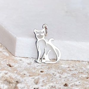 Sterling Silver Sitting Cat Outline Pendant Charm, Sterling Silver Sitting Cat Outline Pendant Charm - Legacy Saint Jewelry