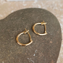 Load image into Gallery viewer, OOO 14KT Yellow Gold Snap Back Mini Hoop Earrings 13mm, OOO 14KT Yellow Gold Snap Back Mini Hoop Earrings 13mm - Legacy Saint Jewelry