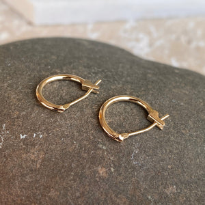 OOO 14KT Yellow Gold Snap Back Mini Hoop Earrings 13mm, OOO 14KT Yellow Gold Snap Back Mini Hoop Earrings 13mm - Legacy Saint Jewelry