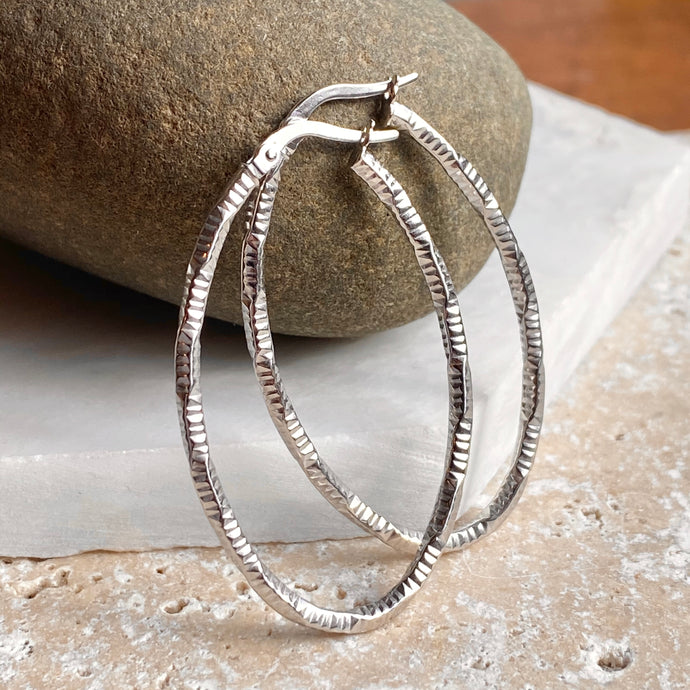 14KT White Gold Oval Textured Hoop Earrings, 14KT White Gold Oval Textured Hoop Earrings - Legacy Saint Jewelry