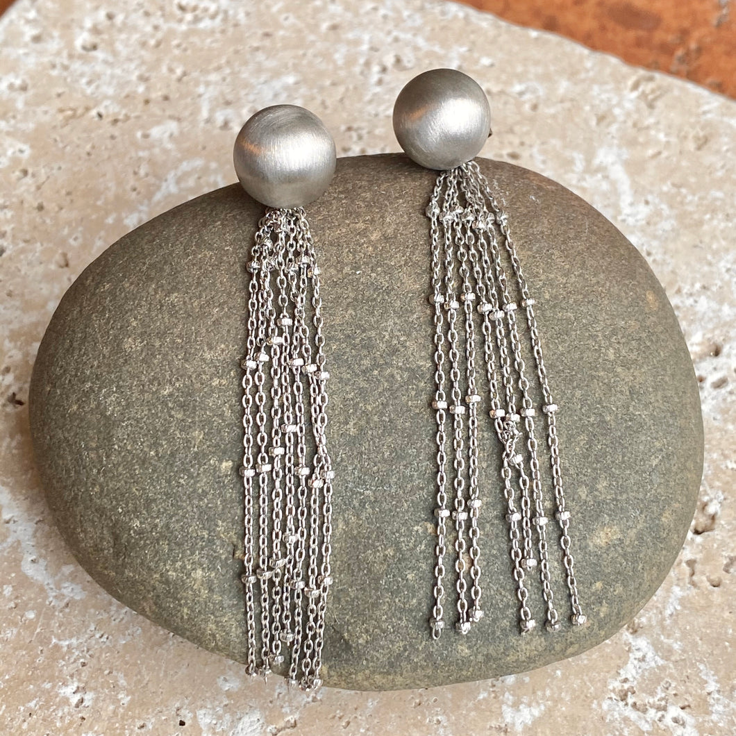 Sterling Silver Matte Ball Dangling Chains Earrings, Sterling Silver Matte Ball Dangling Chains Earrings - Legacy Saint Jewelry