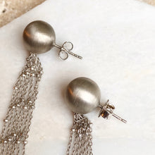 Load image into Gallery viewer, Sterling Silver Matte Ball Dangling Chains Earrings, Sterling Silver Matte Ball Dangling Chains Earrings - Legacy Saint Jewelry