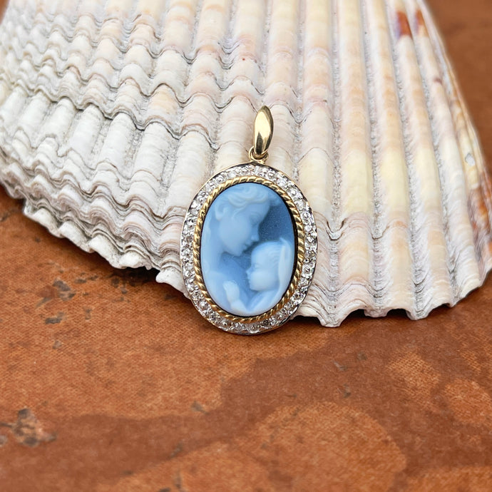 14KT Yellow Gold Mother + Baby Blue Cameo .10 CT Diamond Oval Pendant 24mm
