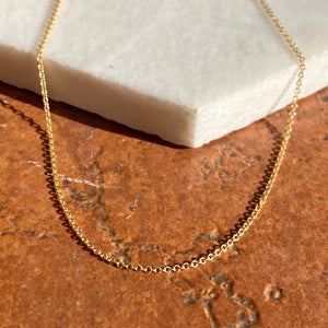 14KT Yellow Gold Cable Chain Necklace .9mm, 14KT Yellow Gold Cable Chain Necklace .9mm - Legacy Saint Jewelry