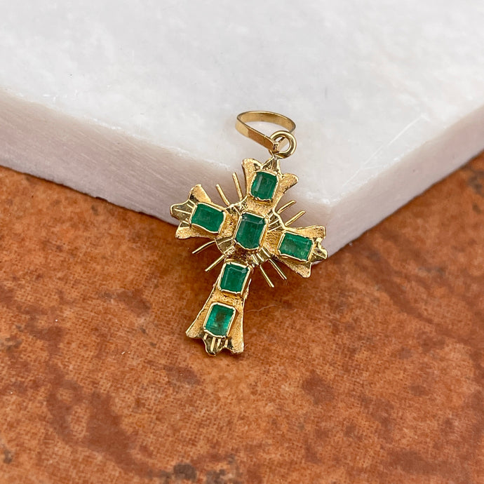 Estate 18KT Yellow Gold Emerald Ornate Cross Pendant 25mm