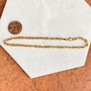 "Estate 10KT Yellow Gold Polished 3.5mm Rope Chain Bracelet 9.25"", Estate 10KT Yellow Gold Polished 3.5mm Rope Chain Bracelet 9.25"" - Legacy Saint Jewelry"