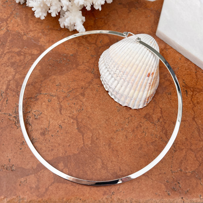 Sterling Silver Polished Flat 4mm Round Neck Wire Necklace