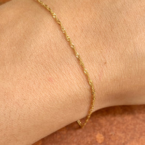 14KT Yellow Gold 1.1mm Singapore Link Thin Chain Bracelet 7""